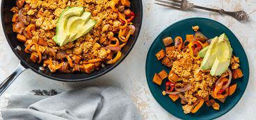 Smoky Tofu & Sweet Potato Hash with Avocado