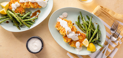 Parsnip & Carrot Bhajis with Lemon Yogurt & Tamarind Green Beans