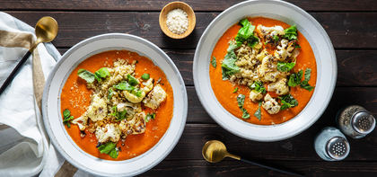 Creamy Tomato Bisque with Quinoa & Parmesan Roasted Cauliflower