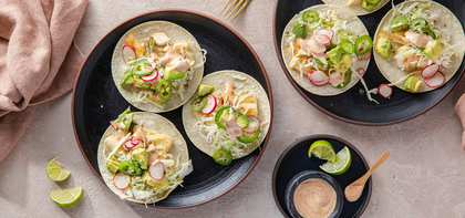 Crispy Hearts of Palm Tacos with Avocado Salsa & Chipotle Ranch