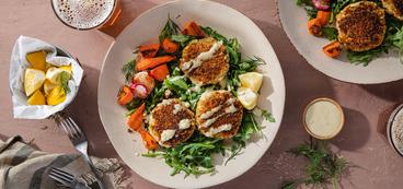 Crispy Fabcakes with Fresh Herb Salad & Creamy Lemon Dijon Dressing