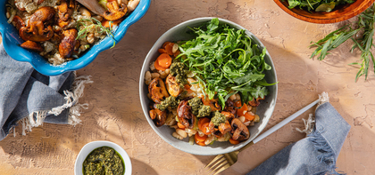 White Bean Cassoulet with Smoky Cremini Mushrooms & Basil Pesto