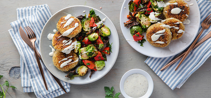 Crispy Quinoa Cakes with Roasted Brussels Sprouts & Ranch Dressing
