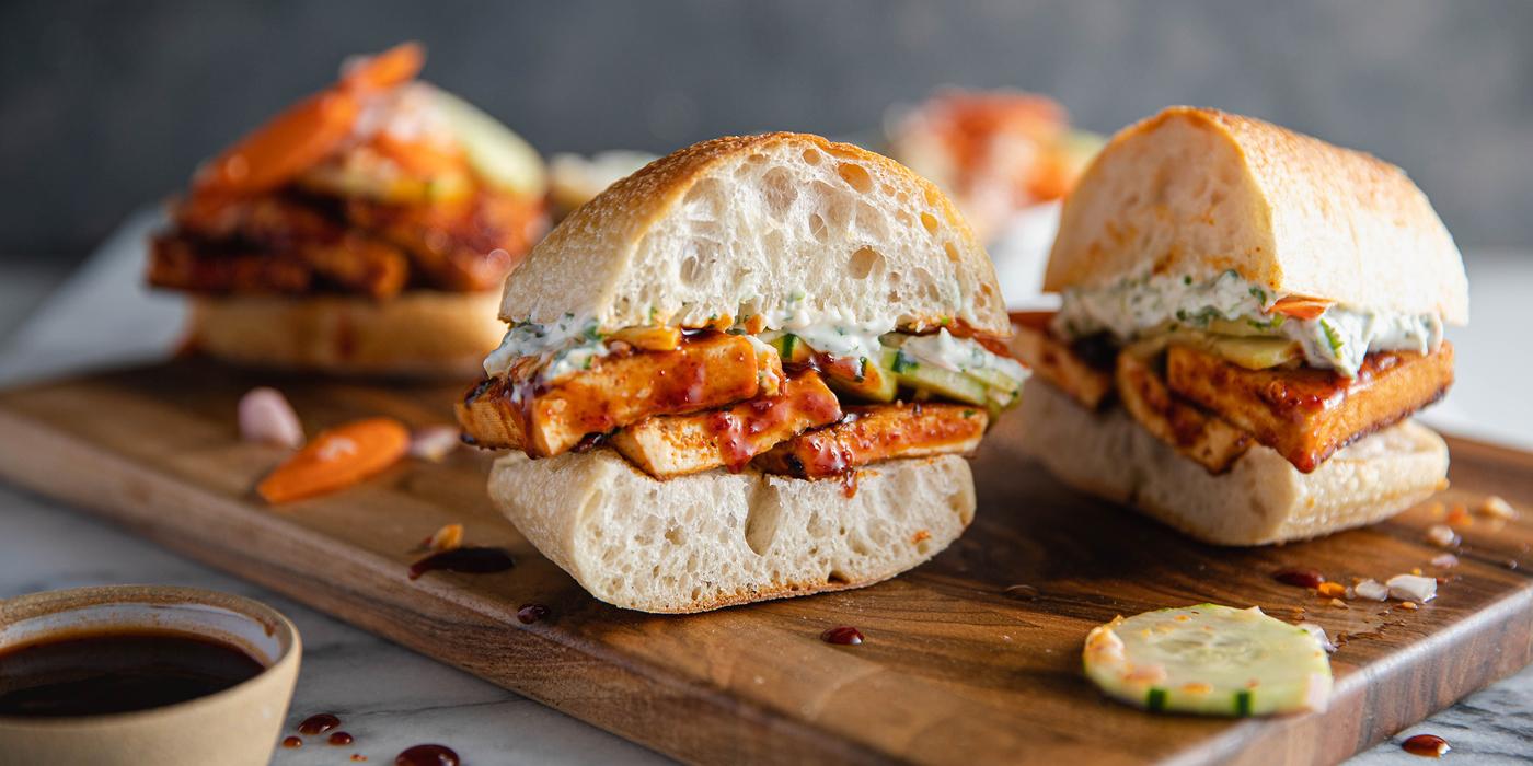 Bali BBQ Tofu Sandwiches with Pickled Vegetables & Cilantro Aioli