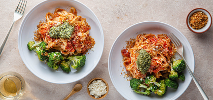 Fettuccine Arrabiata with Roasted Broccoli & Basil Pesto