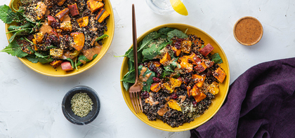 Superfood Bowls with Cranberries, Orange & Ginger Almond Sauce