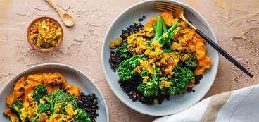 368 173 vegan pansearedbroccoliniwithmashedsweetpotatoes horizontal