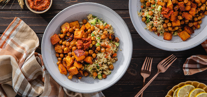 Harissa Roasted Butternut Squash with Buttered Dates & Crunchy Quinoa Pilaf