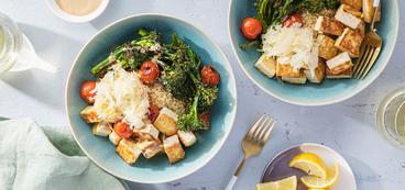 Tahini Bulgur Bowls with Charred Broccolini & Crispy Lemon Tofu