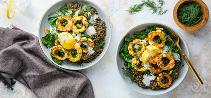 Chile Butter Roasted Delicata Squash with Garlicky Greens & Lemon Yogurt
