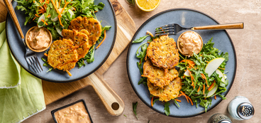 Rosemary Leek Fritters with Arugula Salad & Apple Miso Mayo