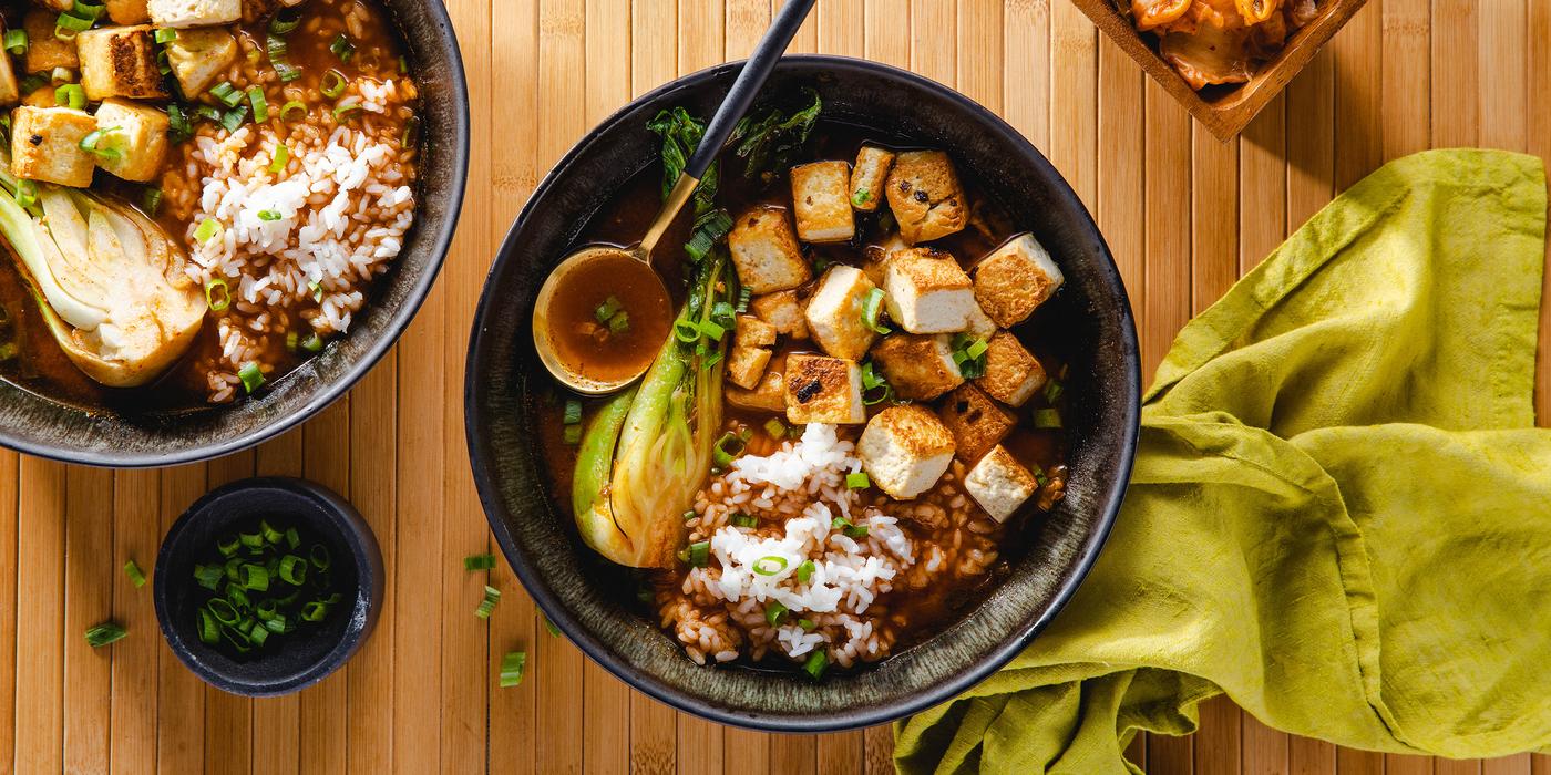 Kimchi Tofu Stew with Bok Choy & Sticky Rice