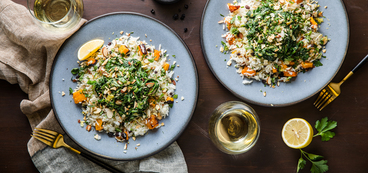 Roasted Butternut Pilaf with Creamed Spinach & Almond Gremolata
