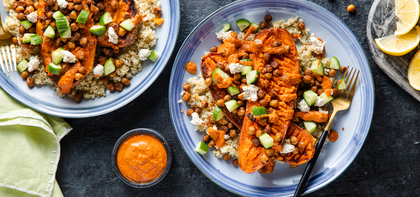 Mediterranean Stuffed Sweet Potatoes with Crispy Chickpeas & Cashew Cheese