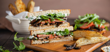 Portobello Mushroom BLT with Herb Mayo and Garlic Pepper Fries