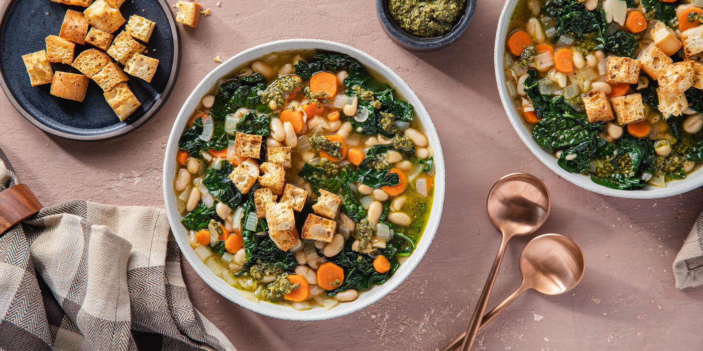 White Bean and Kale Stew with Pesto & Garlic Croutons