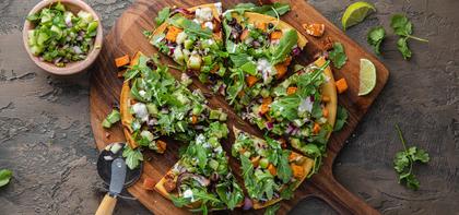 Mexican Socca Pizza with Tomatillo Salsa & Chipotle Sweet Potato