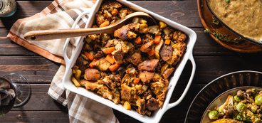 Rustic Ciabatta Stuffing with Root Vegetables & Herb Sausage