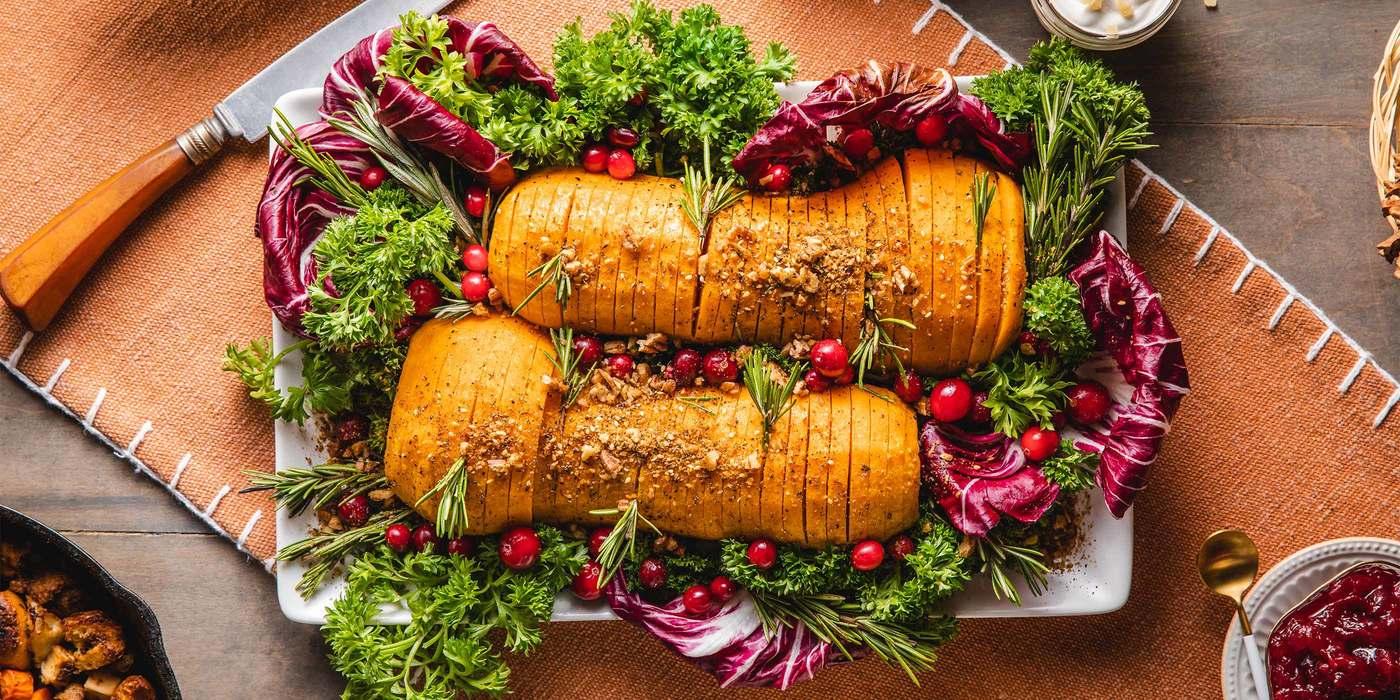 Hasselback Butternut Squash with Cider Glaze & Rosemary Pecan Dukkah