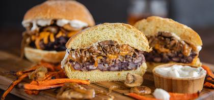 Mushroom Cheddar Black Bean Burgers with Garlic Aioli & Carrot Fries