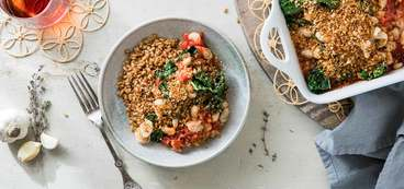 Butter Roasted Tomato Gratin with Farro & Garlic Breadcrumbs