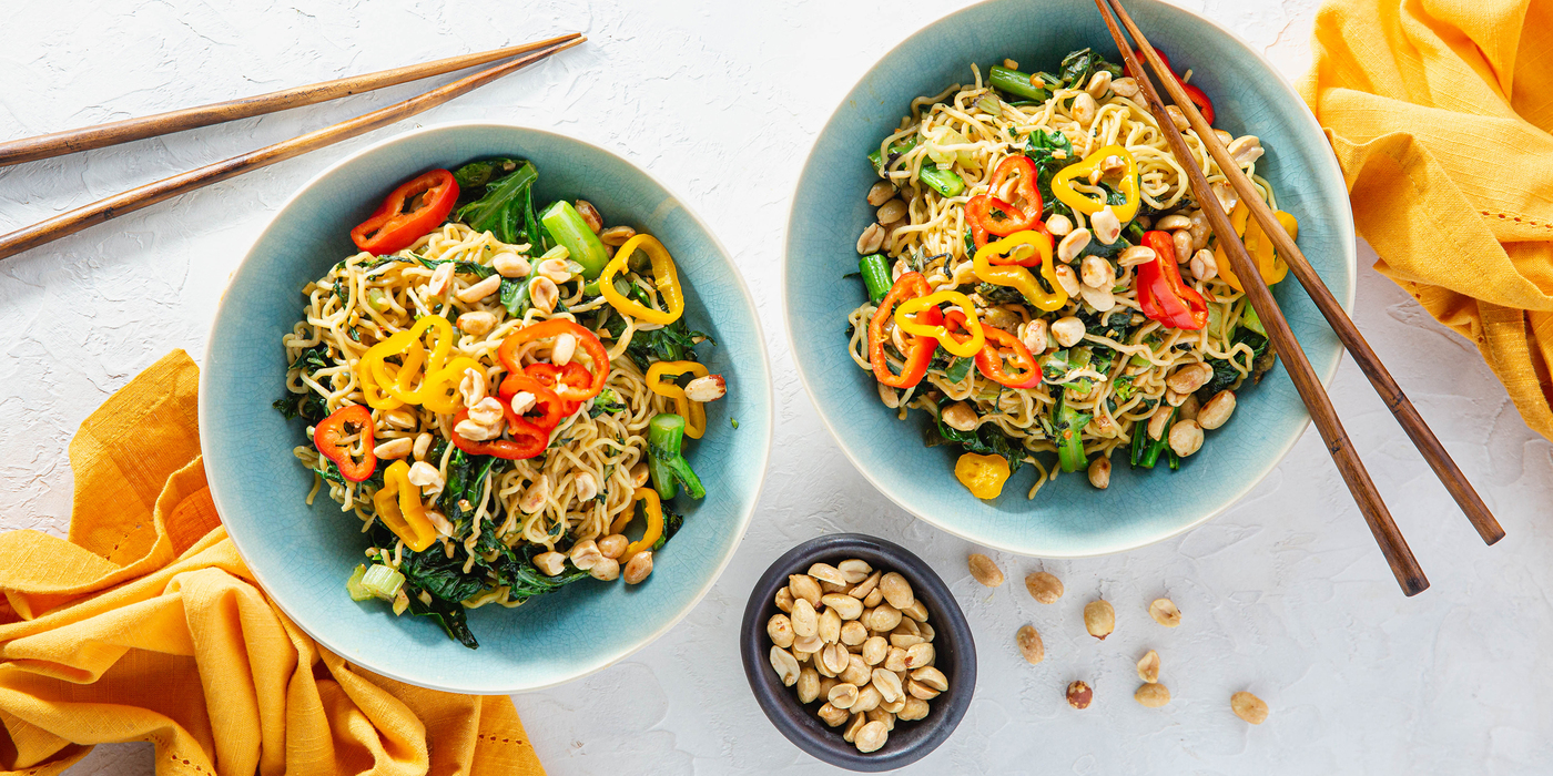 Sesame Ginger Noodles with Stir-Fried Greens & Toasted Peanuts