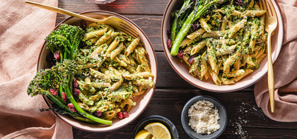 Sage Walnut Pesto Penne with Crispy Broccolini & Cranberries