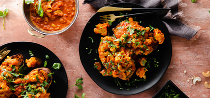 Masala Stuffed Sweet Potatoes with Cauliflower & Cilantro