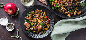 Apple Sage Sausage Skillet with Farro & Spinach