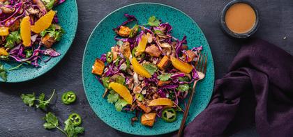 Warm Sweet Potato & Shiitake Salad with Orange & Spicy Peanut Dressing