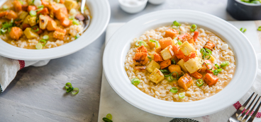 Creamy Miso Risotto with Roasted Winter Vegetables