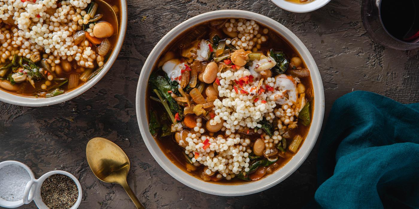 Beans and Greens Ragout with Swiss Chard & Chile Garlic Yogurt