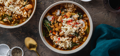 Beans and Greens Ragout with Swiss Chard & Chile Garlic Yogurt