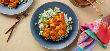 Indian Butter Tofu with Vegetable Biryani & Mango Chutney