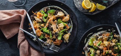 Crispy Sheet Pan Tofu with Midnight Grains & Miso Power Dressing