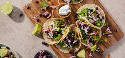 Crispy Nacho Broccoli Tacos with Black Bean & Radish Salsa