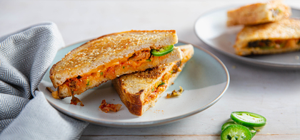 Kimchi Grilled Cheese Sandwiches with Jalapeño & Sesame Butter
