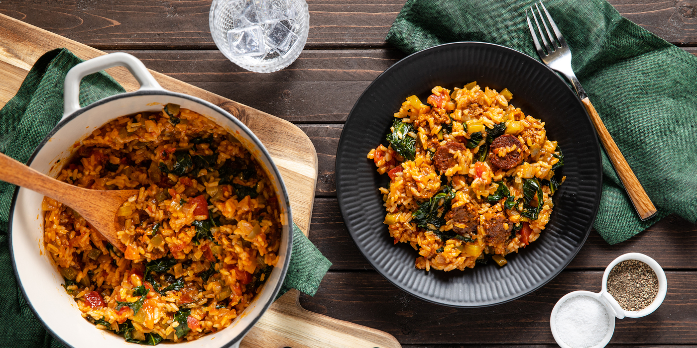 Sausage Jambalaya with Kale & Long Grain Rice