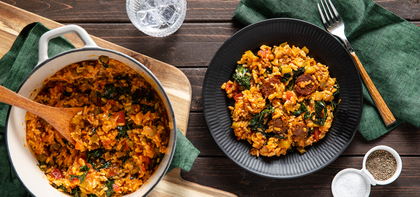 Sausage Jambalaya with Kale & Long Grain Rice