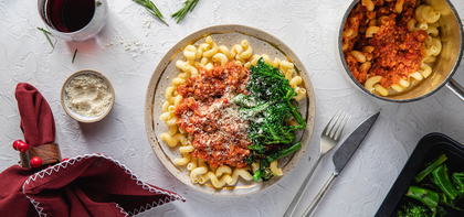 Cavatappi Bolognese with Rosemary & Parmesan