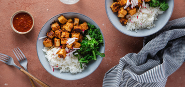 Almond Butter Tofu Bowls with Winter Greens & Sticky Rice