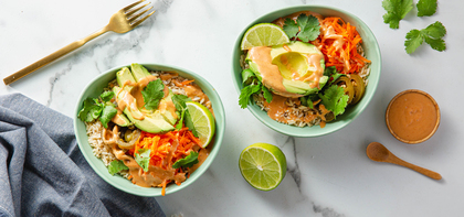 Brown Rice Banh Mi Bowls with Avocado & Peanut Sauce