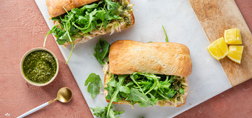 Pesto White Bean Melts with Lemon Arugula