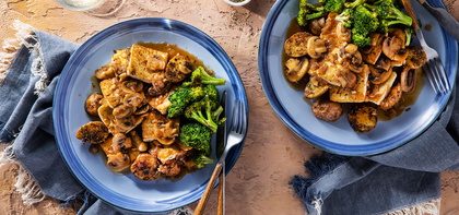 Tofu Marsala with Roasted Mustard Herb Potatoes & Broccoli