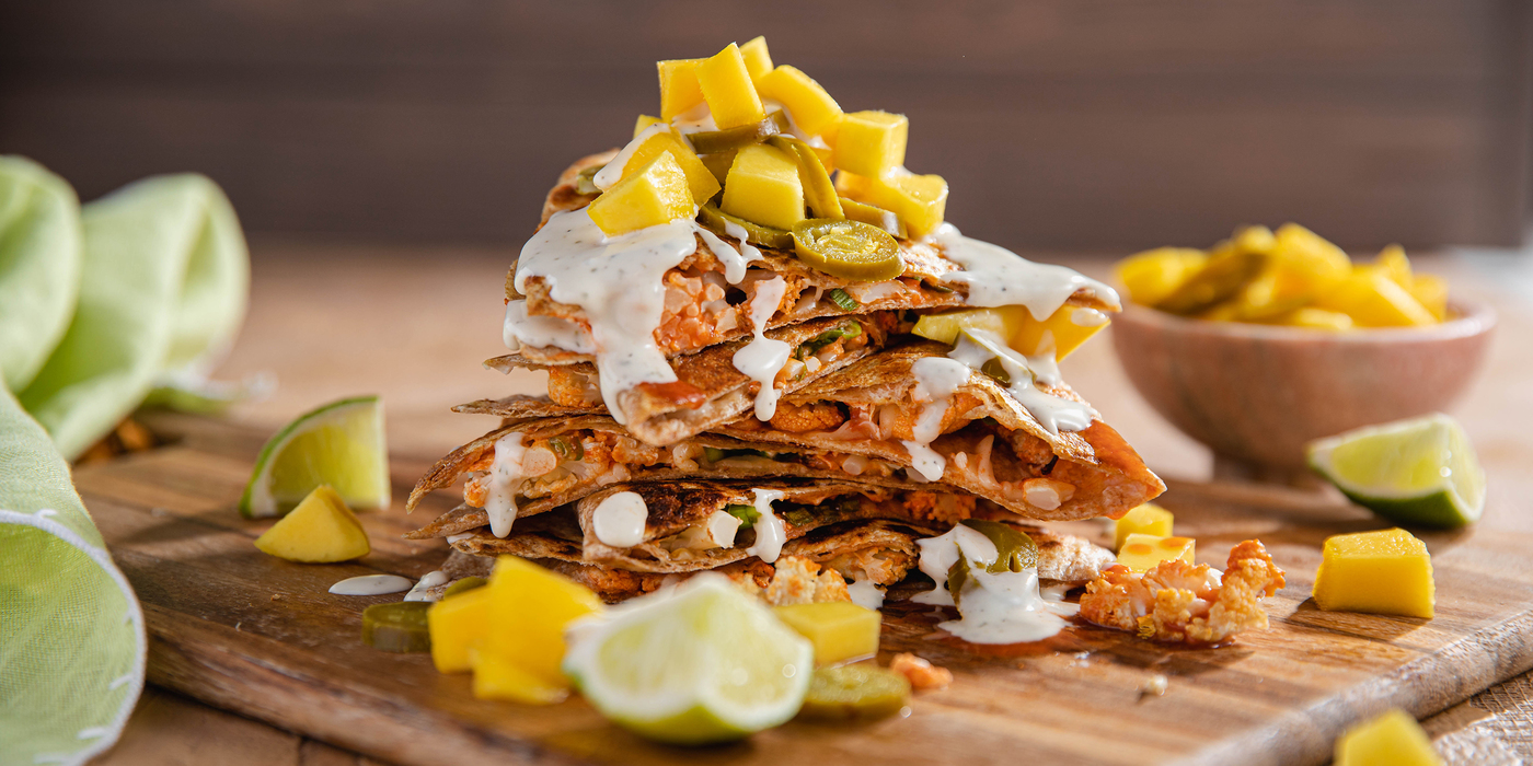 Buffalo Cauliflower Quesadillas with Mango Jalapeño Salsa & Ranch