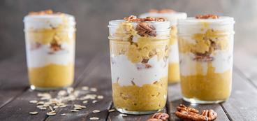 Pumpkin Pie Overnight Oats with Pecans & Vanilla Yogurt