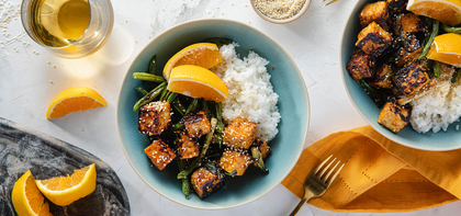 Sesame Orange Tofu with Roasted Green Beans & Sticky Rice
