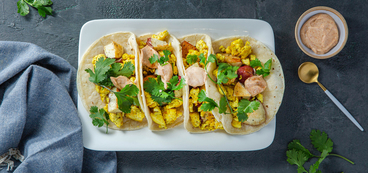 Breakfast Tacos with Crispy Potatoes & Chipotle Aioli