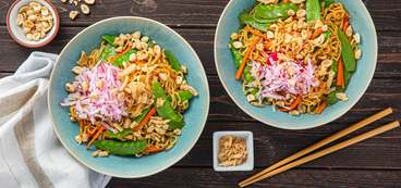 Takeout-Style Noodles with Snow Peas & Sesame Ginger Sauce
