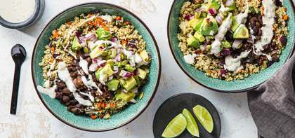 Black Bean Bowls with Carrot Poblano Quinoa & Spicy Ranch Dressing